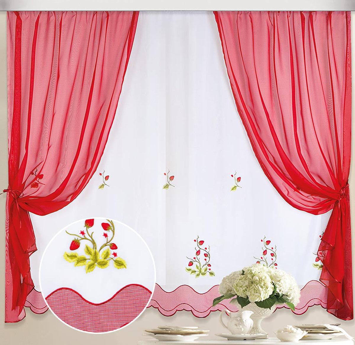 """Комплект штор и тюля """"Земляничка"""" обязательно украсит любое окно.  В комплекте 2 шторы и 1 тюль.Шторы выполнены из качественного вуалевого полотна (полиэстера) красного цвета. Тюль также выполнены из качественного вуалевого полотна (полиэстера), по низу украшена волнообразным кантом и украшена вышивкой в видекустов земляники.Полупрозрачные ткани, оригинальный дизайн и приятная цветовая гамма привлекут к себе внимание и сделают акцент на окне. Штора крепится на карниз при помощи шторной ленты, которая поможет красиво и равномерно задрапировать верх. Стирка не более 30 градусов."""