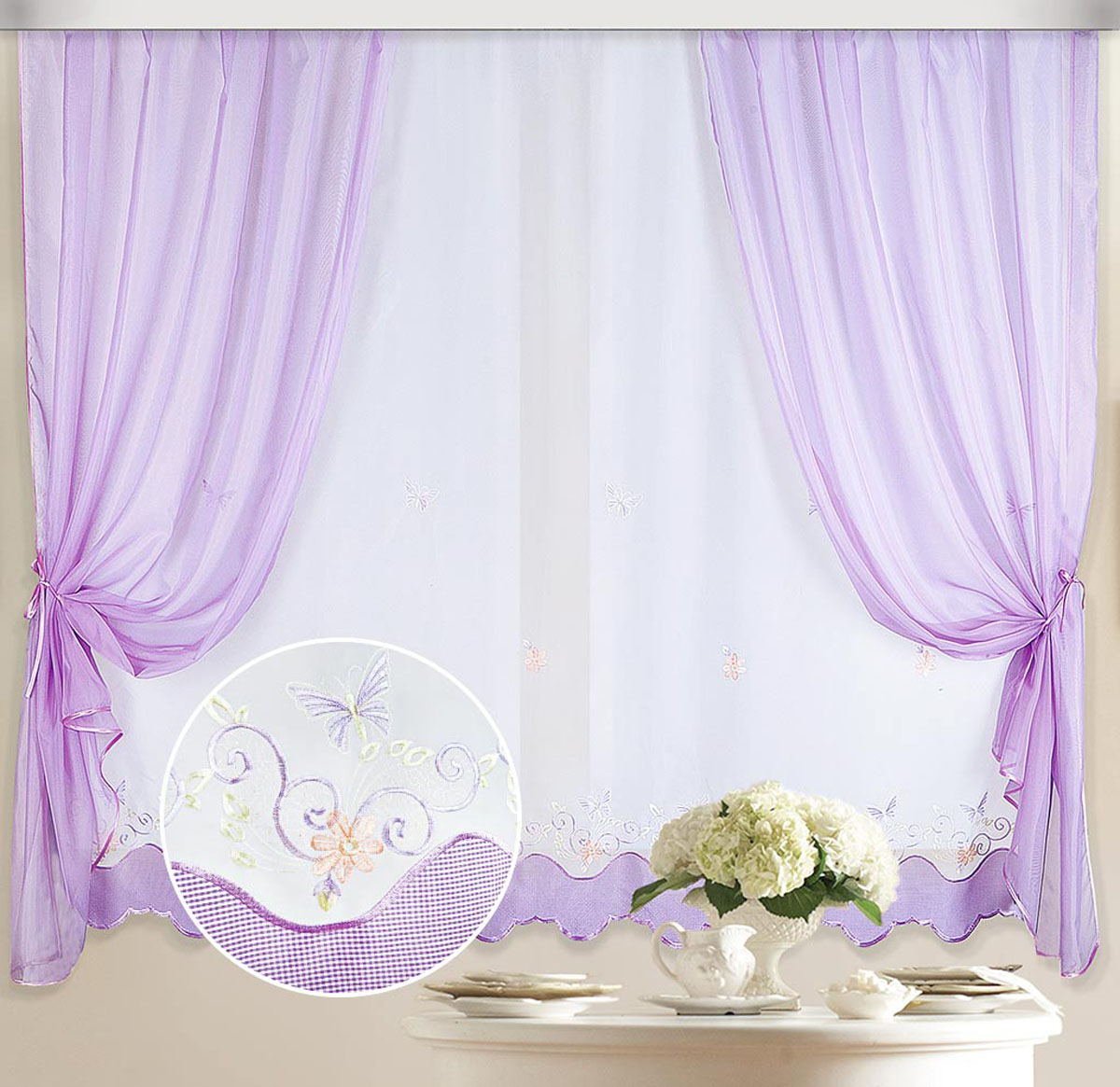 Комплект штор Бабочка, на ленте, цвет: белый, сиреневый, высота 170 см шторы томдом классические шторы вольтер к цвет бирюзовый