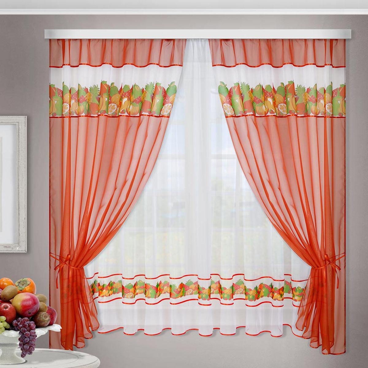 Комплект штор Фруктовая поляна, на ленте, цвет: белый, красный, высота 170 см86157Комплект штор Фруктовая поляна изготовлен из прозрачного, легкого, воздушного вуалевого полотна с печатным рисунком. Комплект крепится на карниз при помощи ленты, которая поможет красиво и равномерно задрапировать верх.В комплект входят:- 2 шторы, - тюль,- 2 подхвата.