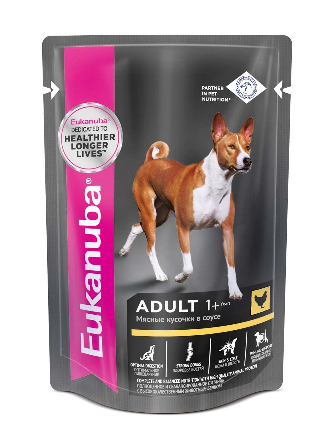 Консервы Eukanuba Adult для взрослых собак, мясные кусочки в соусе, 100 г10151131Консервы Eukanuba Adult - это полноценное и сбалансированное питание для взрослых собак всех пород в возрасте старше 1 года с высококачественным животным белком. Особенности корма: - ОПТИМАЛЬНОЕ ПИЩЕВАРЕНИЕ. Способствует поддержанию здоровой кишечной микрофлоры за счет пребиотиков и клетчатки. - ЗДОРОВЫЙ РОСТ. Содержит все необходимые минеральные вещества и витамины для здорового роста и развития. - КОЖА И ШЕРСТЬ. Поддерживает здоровье кожи и красоту шерсти при помощи оптимального соотношения омега-З и омега-6 жирных кислот. - ПОДДЕРЖАНИЕ ИММУНИТЕТА. Способствует поддержанию иммунной системы за счет антиоксидантов. Состав: мясо и субпродукты (в том числе курица минимум 26%), злаки, витамины и минеральные вещества, рыбий жир. Аналитический состав: Белки 9,4 г, Жиры 5,0 г, Зола (минералы) 3,1 г, Клетчатка 0,1 г, Влага 80 г, Омега-6 жирные кислоты - не менее 1 г, Омега-3 жирные кислоты - не менее 0,1 г, Кальций - не менее 0,1 г, Витамин А - не менее 170 МЕ, Витамин Е - не менее 1,3 г.Энергетическая ценность (в 100 г): 98 Ккал. Товар сертифицирован.