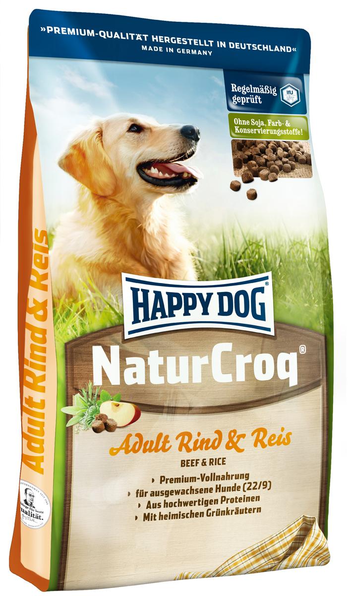 Корм сухой Happy Dog Natur Croq для взрослых собак, с говядиной и рисом, 15 кг2445Happy Dog Natur Croq - легко усваиваемый полнорационный корм класса премиум. Корм оптимально подходит для взрослых собак всех пород с нормальной потребностью в энергии. Хрустящие гранулы содержат качественные ингредиенты: говядину, рис, полезную цельнозерновую смесь, ценные травы, а также все витамины и минеральные вещества, необходимые для сбалансированного питания вашей собаки. Сбалансированный полнорационный корм, содержащий все нужные питательные вещества. Не содержит красителей, консервантов и сои. Легко усваивается благодаря высокому качеству.Состав: мясопродукты (12%, в том числе говядина 70%), цельные зерна пшеницы, цельные зерна кукурузы, пшеничная мука, цельные зерна ячменя, рисовая мука (7%), кукурузная мука, птичий жир, говяжий жир, птица, рыба, гемоглобин, гидролизат печени, свекольная пульпа, яблочная пульпа (0,8%), дрожжи сухие, ростки солода, хлорид натрия, овес сушеный, подсолнечник сушеный, листья салата сушеные, петрушка сушеная (общий объем трав: 0,3 %).Аналитический состав: сырой протеин 22,0%, сырой жир 9,0%, сырая клетчатка 3,0%, сырая зола 5,5%, кальций 1,15%, фосфор 0,8%, натрий 0,25%, калий 0,5%.Витамины/кг: витамин А 10250 М.E., витамин D3 1000 М.E., витамин Е 60 мг, витамин В1 4 мг, витамин В2 6 мг, витамин В6 3 мг, биотин 350 мкг, кальций D-пантотенат 10 мг, ниацин 45 мг, витамин В12 60 мг, холинхлорид. Микроэлементы/кг: железо 80 мг, медь 8 мг, цинк 80 мг, марганец 5 мг, йод 2 мг, селен 0,15 мг.Товар сертифицирован.