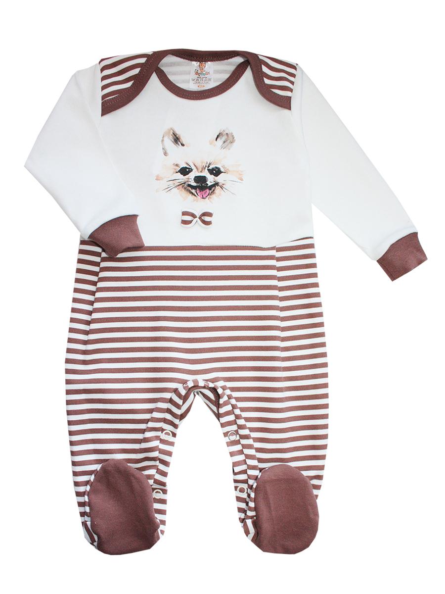 Комбинезон детский КотМарКот, цвет: коричневый, молочный. 6166. Размер 80, 9-12 месяцев6166Комбинезон детский КотМарКот, выполненный из натурального хлопка,идеально подойдет вашему ребенку, обеспечивая ему максимальный комфорт.Комбинезон с длинными рукавами, круглым вырезом горловины и закрытыми ножками имеет застежки-кнопки, которые помогают легко переодеть младенца или сменить подгузник. Модель оформлена полосатым принтом и изображением мордочки собачки с бантиком. В таком комбинезоне спинка и ножки младенца всегда будут в тепле, и кроха будет чувствовать себя комфортно и уютно.