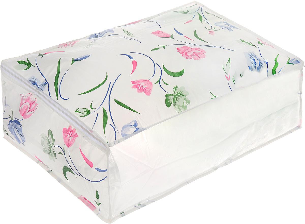 Чехол для хранения Eva Цветы, цвет: белый, розовый, зеленый, 60 х 40 х 20 см чехол для одежды eva с прозрачной вставкой цвет черный белый 60 х 150 см