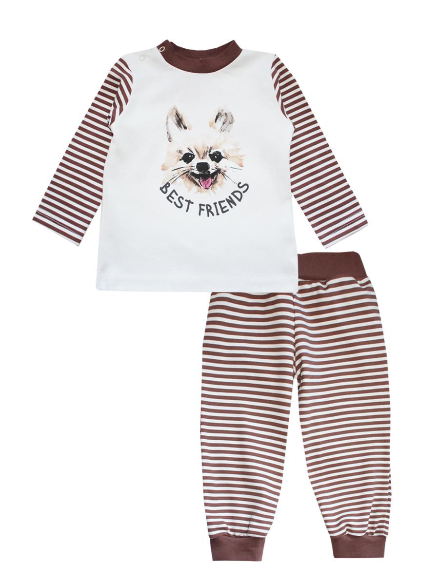 Пижама детская КотМарКот, цвет: молочный, коричневый. 16166. Размер 86, 1 год пижама футболка брюки коллекция корона котмаркот