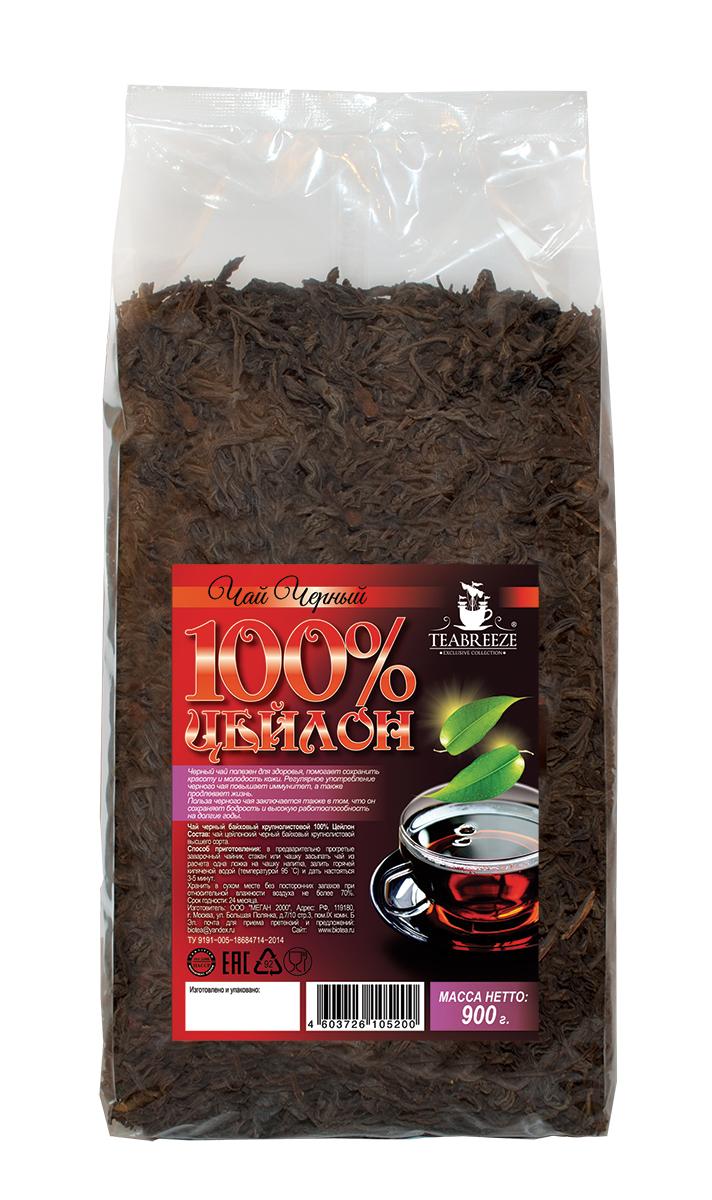 Teabreeze Цейлон крупнолистовой черный байховый чай, 900 гTB 1407-900Цейлонский чай Teabreeze, пожалуй, в наибольшей степени соответствует представлению западного человека о настоящем черном чае: это настой красно-коричневого, почти черного цвета, очень крепкий и ароматный. Чай, состоящий из длинных, тонких листьев, обладает фруктовым ароматом. Этот чай хорошо пить с молоком, и он отлично дополняет сладкий завтрак или дневную еду.