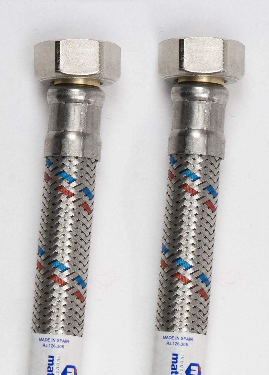 Подводка для воды Mateu FIL-NOX 1/2, 0,5 м, Г-Г701050005Подводка для воды FIL- NOX 1/2 применяется для монтажа приборов водоснабжения, отопительного и сантехнического оборудования, бытовых приборов, использующих воду, а также подключения бытовых газовых плит к стоякам. Выполнена из нержавеющей стали и резины.