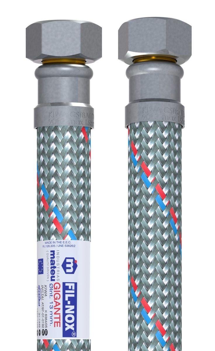 """Гибкая подводка Mateu """"Гигант"""" применяется для монтажа приборов водоснабжения, отопительного и сантехнического оборудования, бытовых приборов, использующих воду, а также подключения бытовых газовых плит к стоякам. Выполнена подводка из нержавеющей стали и резины.Давление: 16 бар."""