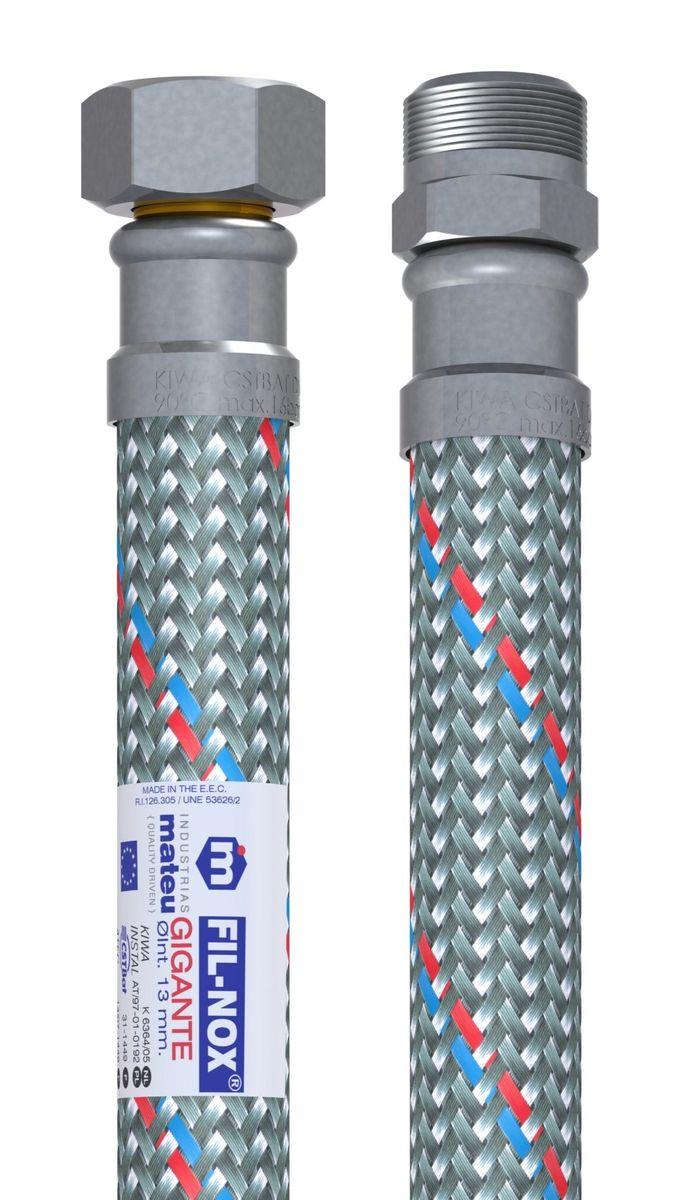 Подводка для воды Mateu Гигант, г-ш, 1/2, 80 см705080001Гибкая подводка Mateu Гигант применяется для монтажа приборов водоснабжения, отопительного и сантехнического оборудования, бытовых приборов, использующих воду, а также подключения бытовых газовых плит к стоякам. Выполнена подводка из нержавеющей стали и резины.Давление: 16 бар.