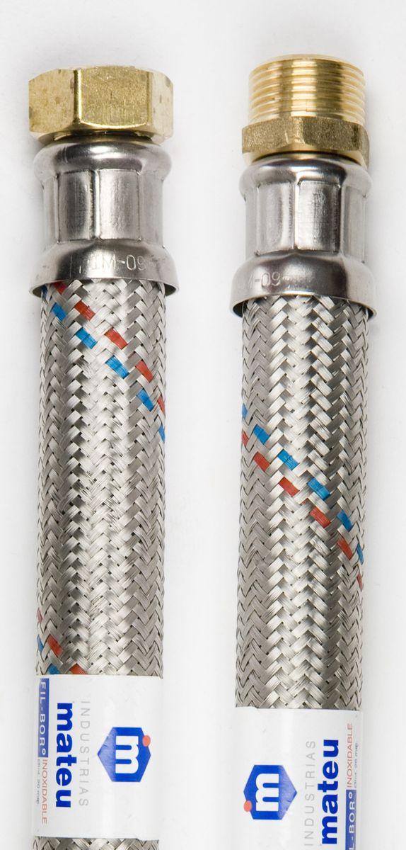 Подводка для воды Mateu FIL-BOR, г-ш, 1, 1,2 м704120037Гибкая подводка Mateu FIL-BOR применяется для монтажа приборов водоснабжения, отопительного и сантехнического оборудования, бытовых приборов, использующих воду, а также подключения бытовых газовых плит к стоякам. Выполнена из нержавеющей стали, латуни и резины.