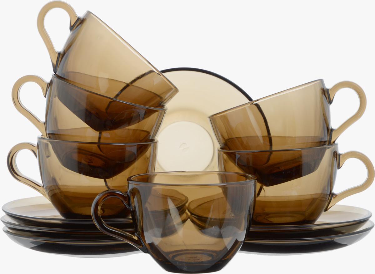 Набор чайный Pasabahce Workshop Bronze, 12 предметов97948BZTЧайный набор Pasabahce Workshop Bronze состоит из шести чашек и шести блюдец. Предметы набора изготовлены из прочного натрий-кальций-силикатного стекла. Изящный чайный набор великолепно украсит стол к чаепитию и порадует вас и ваших гостей ярким дизайном и качеством исполнения.Можно использовать в холодильнике и мыть в посудомоечной машине.Диаметр чашки по верхнему краю: 8,8 см.Высота чашки: 6,5 см.Объем чашки: 238 мл.Диаметр блюдца: 13,7 см.Высота блюдца: 2 см.