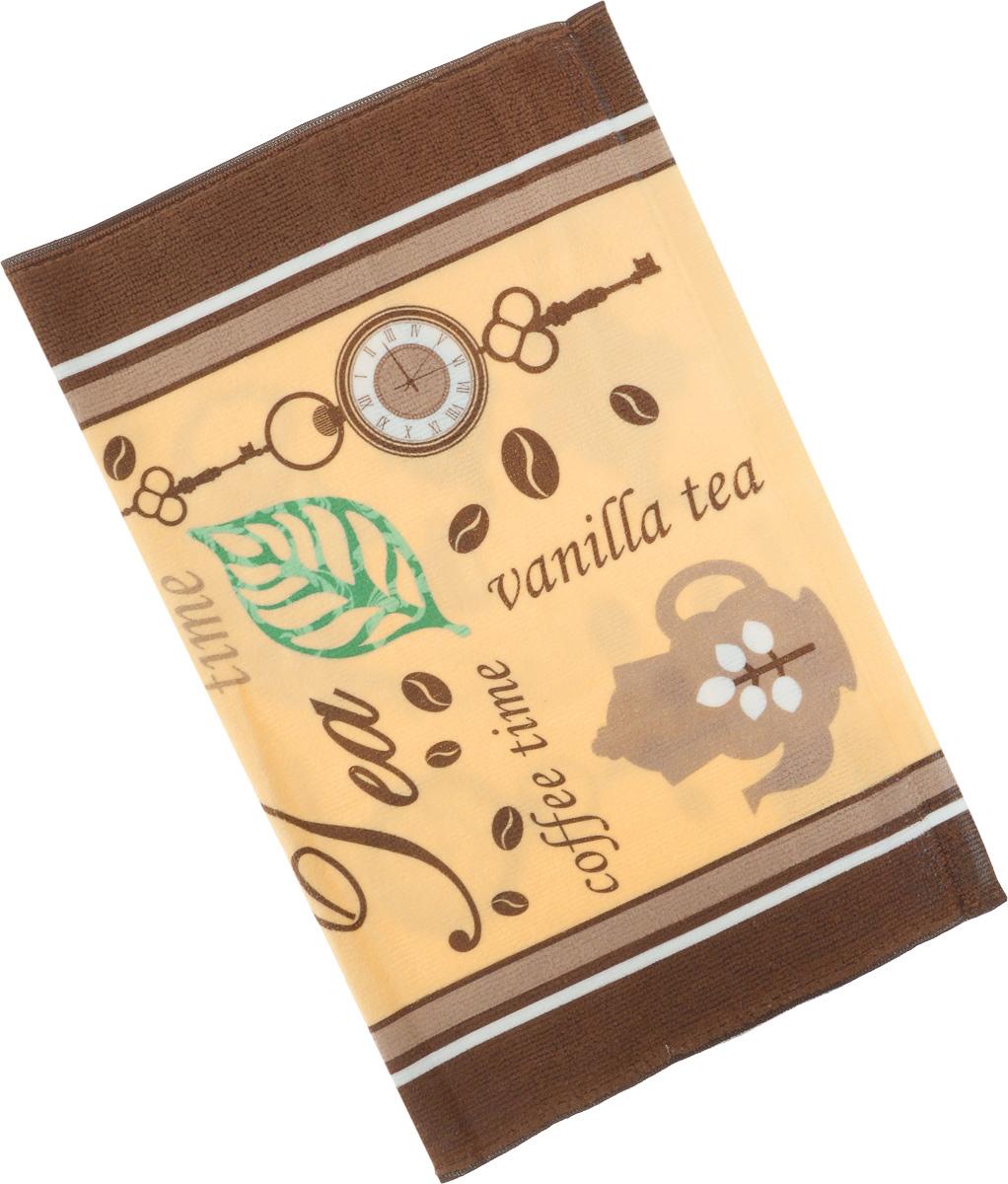 Полотенце кухонное Soavita Чай-Кофе, 38 х 50 см. 7712477124Кухонное полотенце Soavita Чай-Кофе, выполненное из высококачественной микрофибры (80% полиэстер, 20% полиамид), оформлено оригинальным рисунком. Изделие предназначено для использования на кухне и в столовой.Такое полотенце станет отличным вариантом для практичной и современной хозяйки.