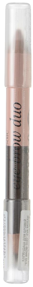 Eva Mosaic Двусторонний карандаш для бровей + хайлайтер Eye Brow Duo, 2,3 г702094Двойной карандаш для бровей моделирует их форму и придает взгляду выразительность. Используйте темный тон для придания желаемой формы бровям, а светлый - чтобы подчеркнуть их изгиб - нанесите под бровью и растушуйте. - точное нанесение - высокая стойкость - специально подобранные воски и смягчающие компоненты - универсальная комбинация цветовКак создать идеальные брови: пошаговая инструкция. Статья OZON Гид