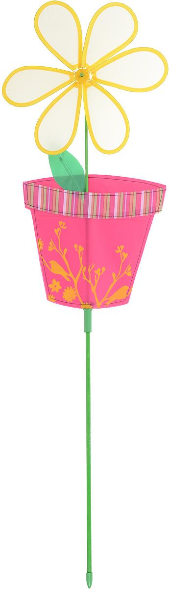 Фигура-вертушка декоративная Village People Цветок в горшочке, цвет: желтый, высота 98 см66924_1Ветряная фигурка-вертушка Village People Цветок в горшочке - это не только любимая всеми игрушка, но и замечательный способ отпугнуть птиц с грядок. Идеально подходит для декорирования садового участка, грядок и клумб. Изделие выполнено из нейлона и располагается на пластиковой палочке. Яркий дизайн изделия оживит ландшафт сада. Высота: 98 см. Размер вертушки: 28 см х 56 см.