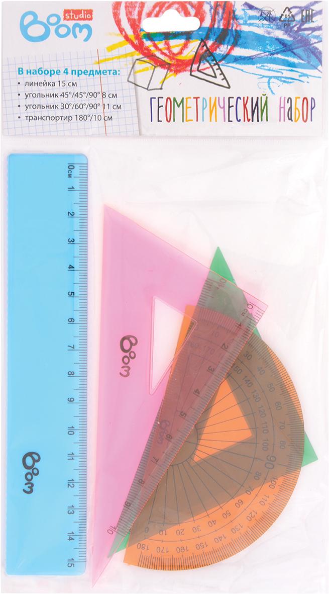 Boom Геометрический набор StudioBS-BDS897Набор Boom Studio предназначен для геометрических измерений и черчения. Все предметы изготовлены из прозрачного пластика и подходят как для правшей, так и для левшей. В наборе 4 предмета: линейка 15 см, угольник 45°/45°/90° длиной 8 см, угольник 30°/60°/90° длиной 11 см и транспортир 180° длиной 10 см. Такой комплект совершенно безопасен для здоровья и предназначен для детей и подростков.