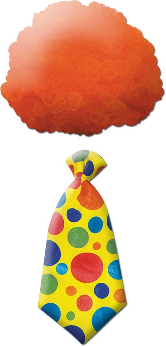 Partymania Клоунский парик с галстуком