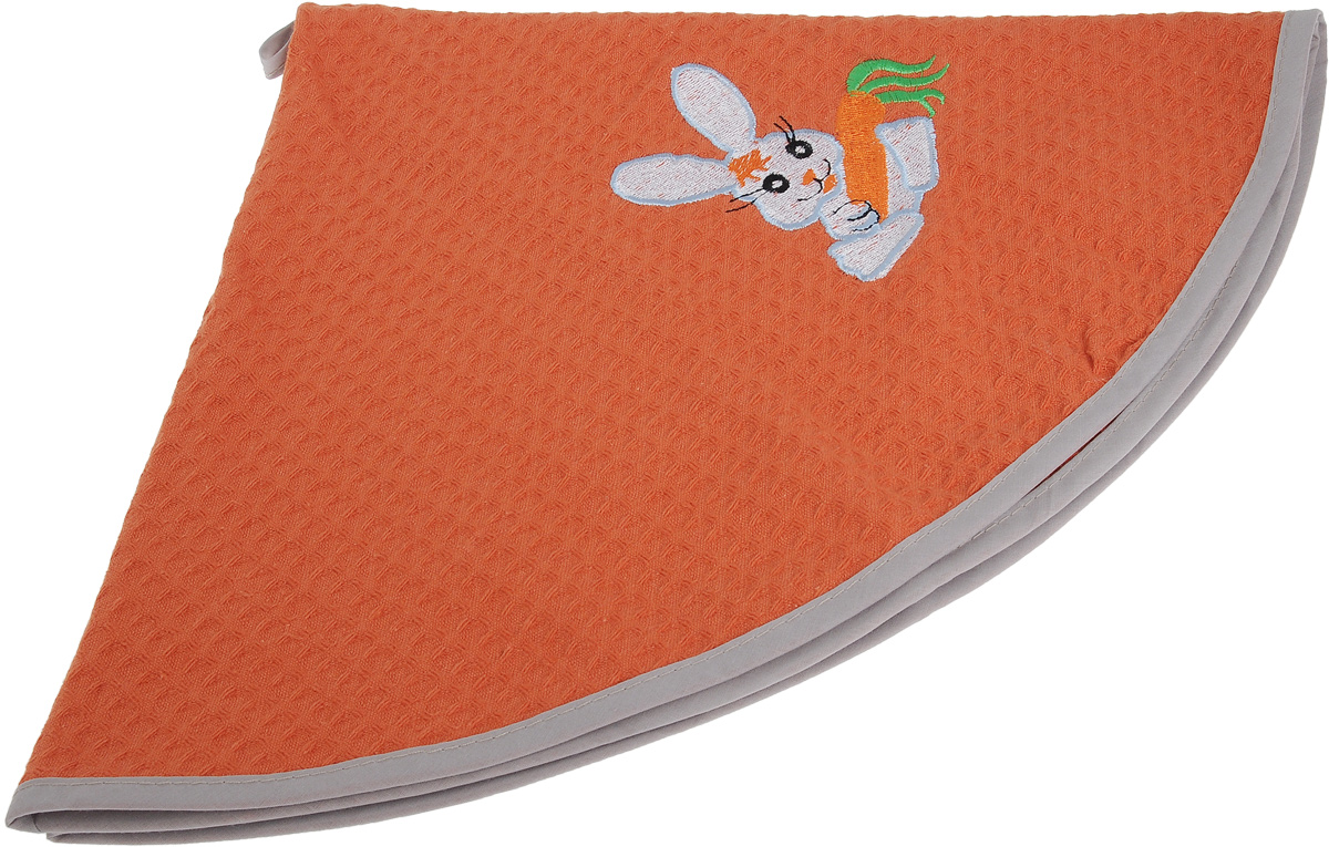 Полотенце кухонное Soavita, цвет: коралловый, диаметр 65 см. 4880048800Кухонное полотенце Soavita, выполненное из 100% хлопка, оформлено вышитым рисунком в виде забавного зайчика с морковкой. Изделие предназначено для использования на кухне и в столовой. Имеется петелька для подвешивания.Такое полотенце станет отличным вариантом для практичной и современной хозяйки.