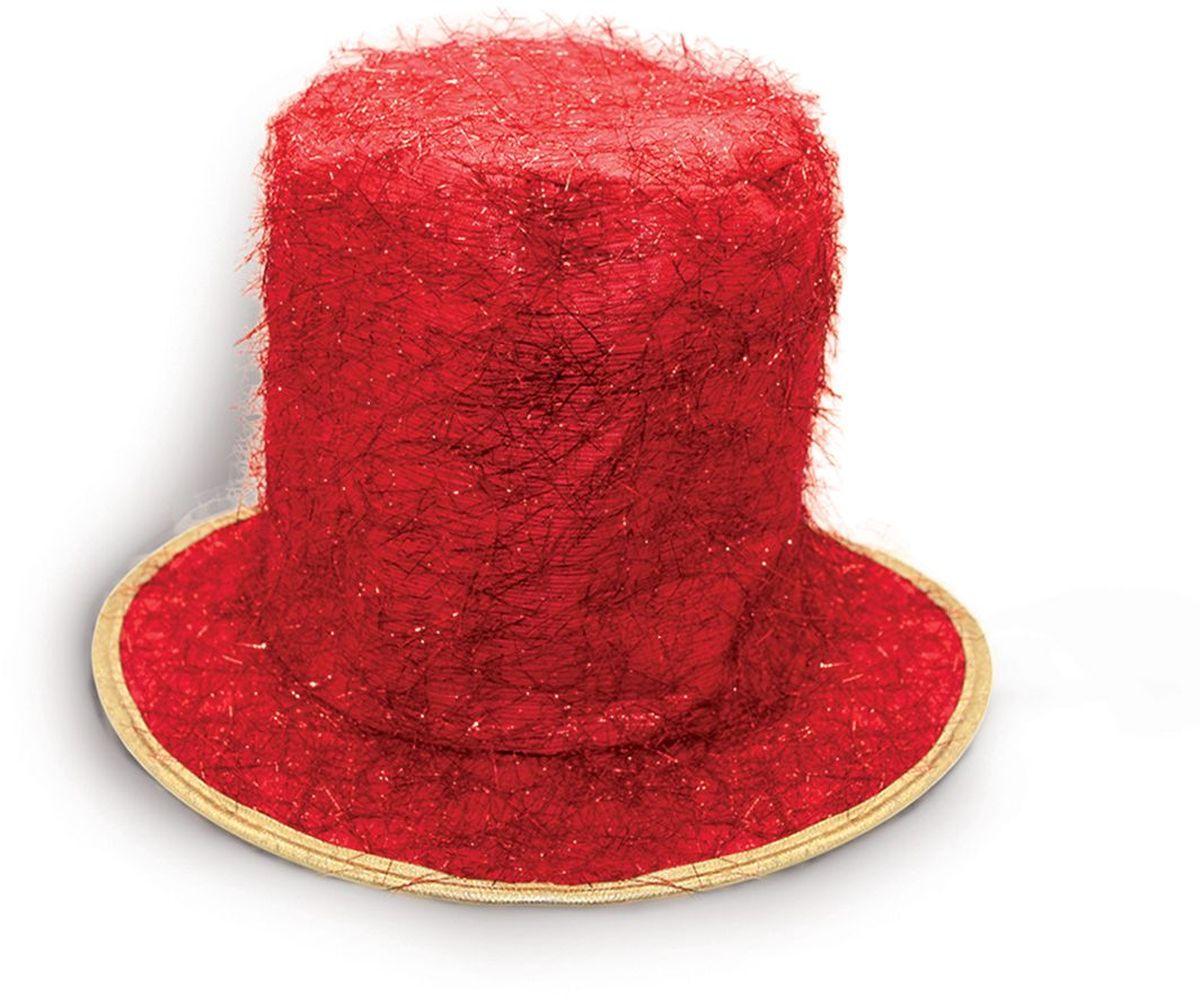 Partymania Шляпа карнавальная Цилиндр клоуна цвет красный