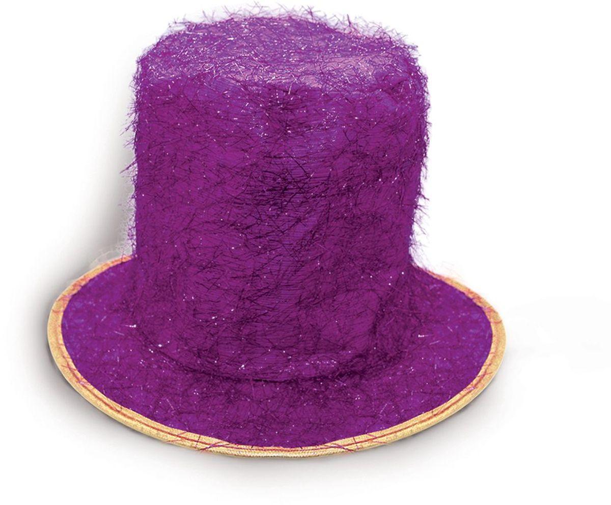 Partymania Шляпа карнавальная Цилиндр клоуна цвет фиолетовый