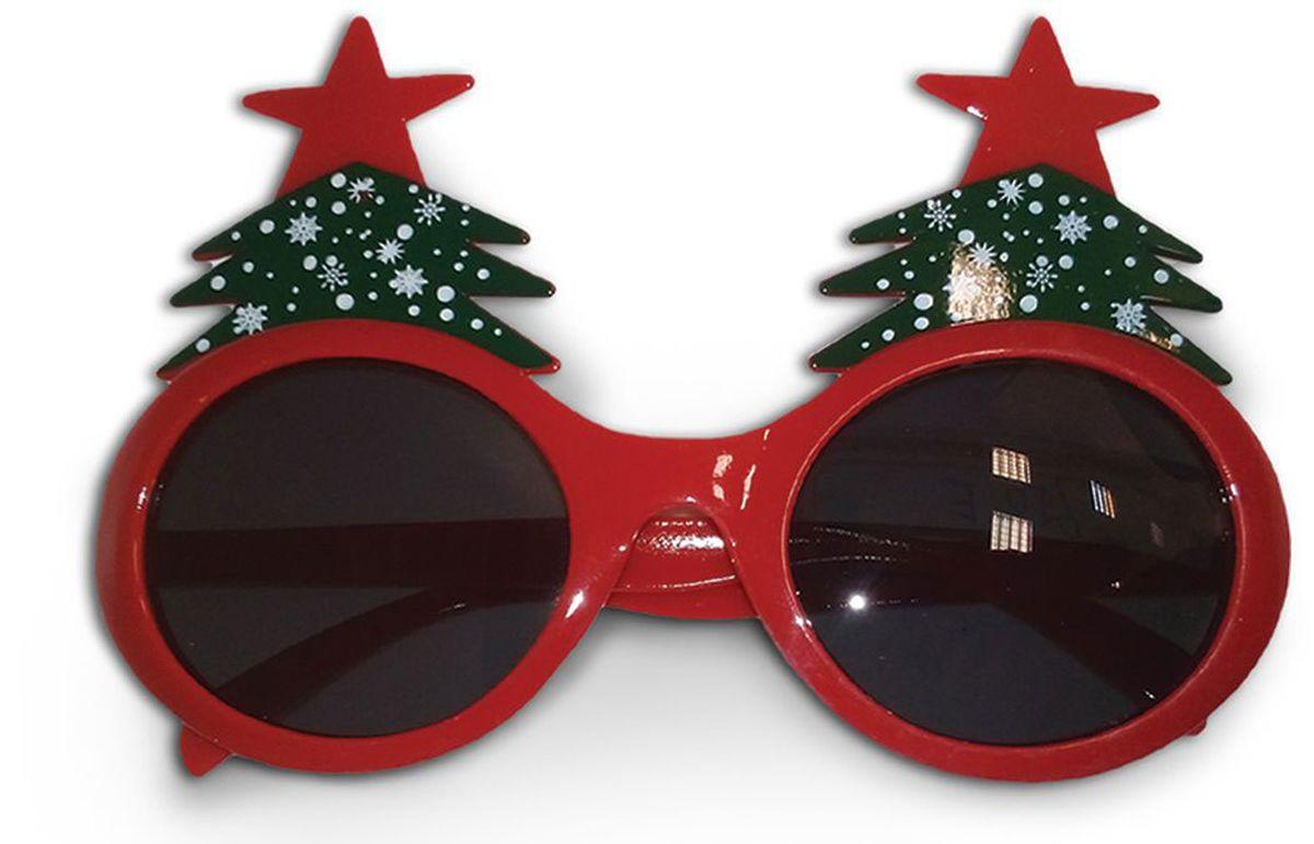 Partymania Очки для вечеринок Елочки цвет красный зеленый -  Очки карнавальные
