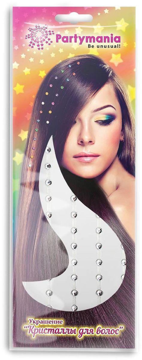 Partymania Украшение Кристаллы для волос цвет серебристый