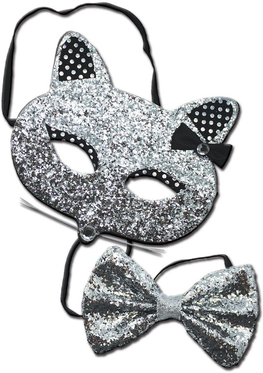 Partymania Маска карнавальная детская Кошечка с бабочкой цвет серебристый черный