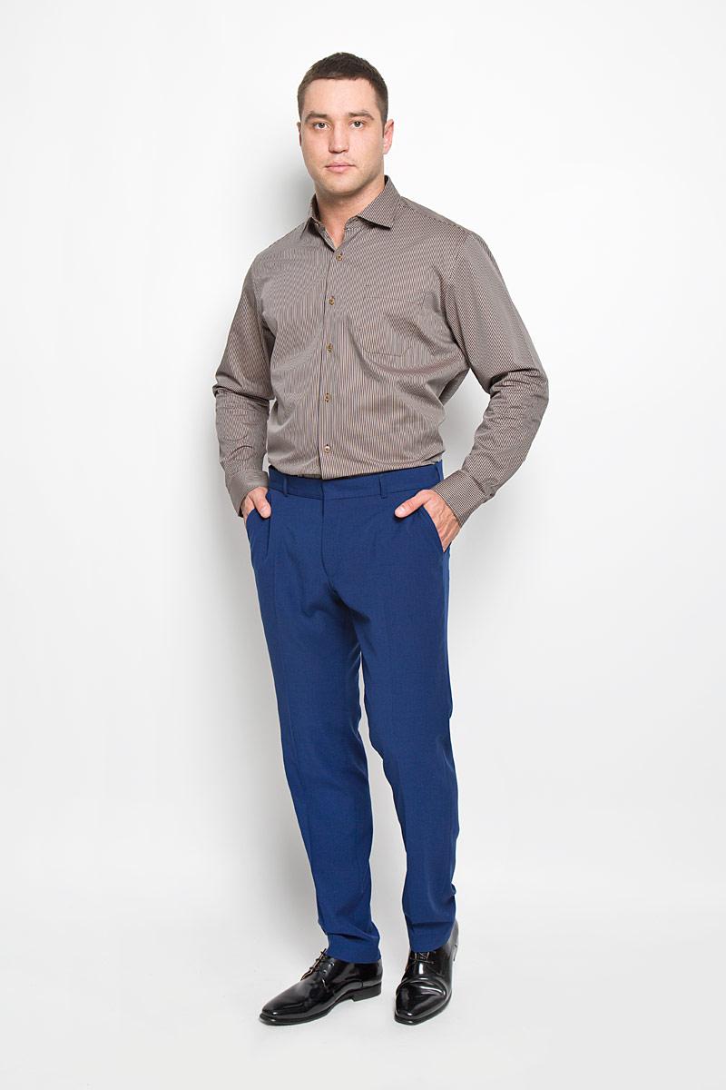 Рубашка мужская KarFlorens, цвет: темно-коричневый, коричневый. SW 71-02. Размер 43/44 (54-182)SW 71-02Стильная мужская рубашка KarFlorens, выполненная из хлопка с добавлением микрофибры, подчеркнет ваш уникальный стиль и поможет создать оригинальный образ. Такой материал великолепно пропускает воздух, обеспечивая необходимую вентиляцию, а также обладает высокой гигроскопичностью.Рубашка с длинными рукавами и отложным воротником застегивается на пуговицы спереди. Рукава рубашки дополнены манжетами, которые также застегиваются на пуговицы. Модель оформлена узором в узкую полоску и дополнена накладным нагрудным карманом. Классическая рубашка - превосходный вариант для базового мужского гардероба и отличное решение на каждый день.Такая рубашка будет дарить вам комфорт в течение всего дня и послужит замечательным дополнением к вашему гардеробу.