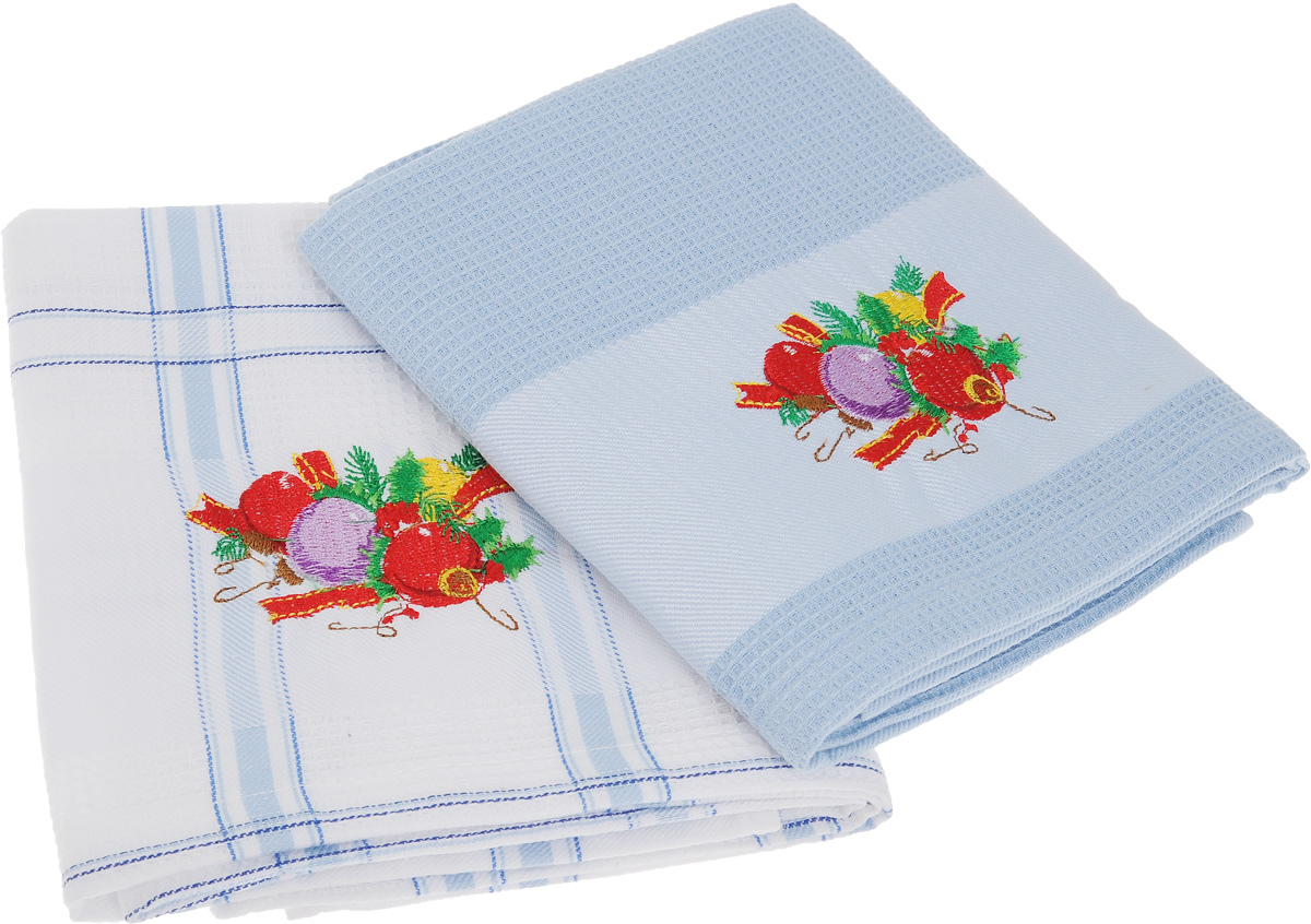 Набор кухонных полотенец Soavita Подарочное, цвет: белый, голубой, 45 х 70 см, 2 шт. 44093 набор кухонных полотенец bon appetit cake цвет синий 2 шт