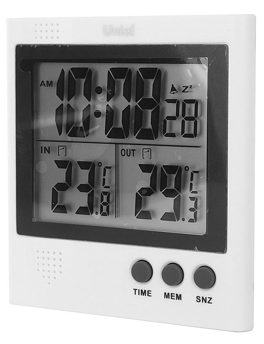 Uniel UTT-91 уличный термометрUTT-91Электронный термометр Uniel UTT-91 — небольшое устройство с сенсорным датчиком и возможностью установить будильник, которое станет решением в тех ситуациях, когда вам необходимо точно узнать температуру внутри или снаружи помещения. Минимальное и максимальное значение температурного показателя за сутки можно зафиксировать нажатием одной кнопки.Часы, формат 12/24Измерение температуры внутри и снаружи, (минимальная, максимальная, за сутки)Определение минимальных и максимальных значений температурИндикатор образования наледи