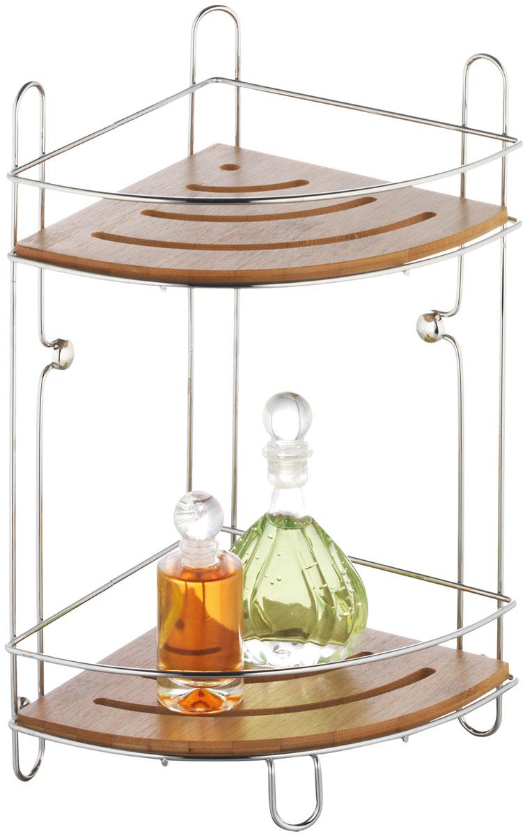 """Двухъярусная полка для ванной Axentia """"Bonja"""" изготовлена из натурального экологически чистого бамбука, устойчивого к повышенной влажности с каркасом из хромированной стали.  Изделие имеет угловую конструкцию и крепится на шурупах (входят в комплект). Классический дизайн и оптимальная вместимость подойдет для любого интерьера ванной комнаты или кухни."""