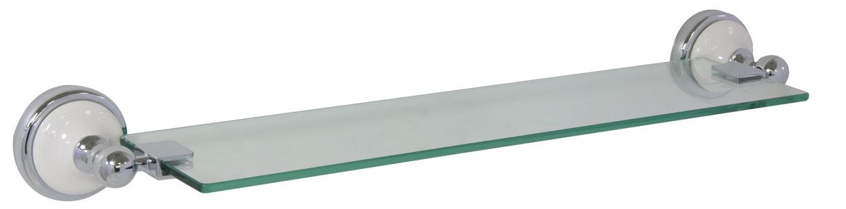 Полка для ванной Axentia Lyon Premium, настенная, 61 х 15 см122447Навесная настенная полка для ванной Axentia Lyon Premium изготовлена из нержавеющей стали, покрытой цинком, с колпачком из белой керамики. Изделие крепится на шурупах (входят в комплект). Классический дизайн и оптимальная вместимость подойдет для любого интерьера ванной комнаты.