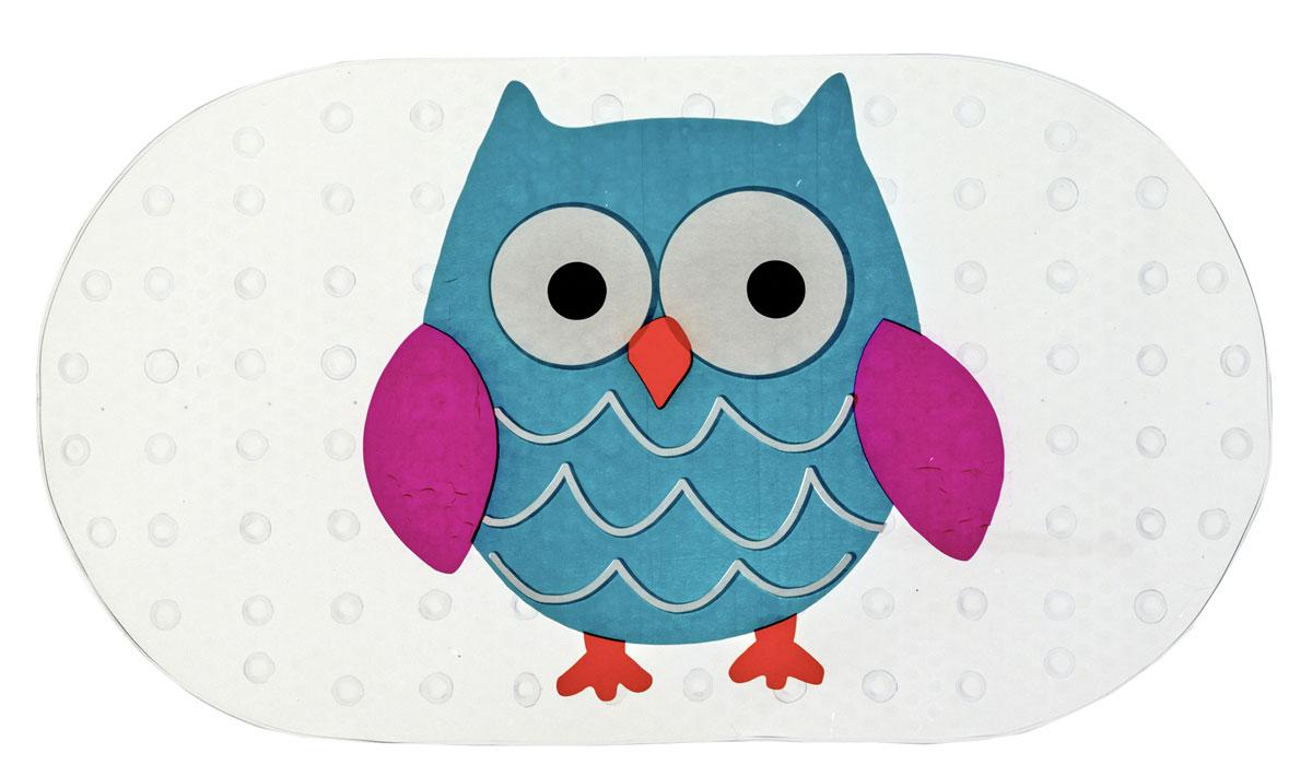 Коврик для ванной Axentia Совы, противоскользящий, 69 х 38 см babyono коврик противоскользящий для ванной цвет голубой 70 х 35 см