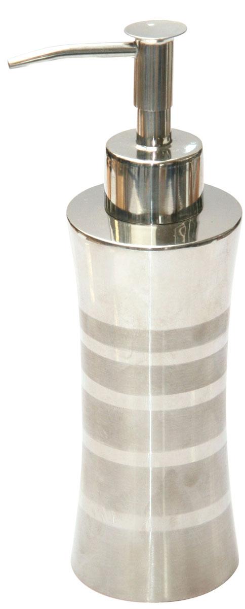 """Дозатор для жидкого мыла Axentia """"Santo"""" изготовлен из  высококачественной нержавеющей стали. Обработан двумя типами полировки: глянцевая и матовая. Изделие прекрасно дополнит интерьер вашей ванной комнаты или кухни, отлично сочетается с другими аксессуарами из коллекции """"Santo"""".Высота дозатора: 18,5 см."""