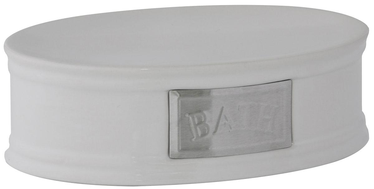 Мыльница Axentia Lyon, 14,5 х 10,2 х 4,5 см122427Мыльница Axentia Lyon - это сочетание белоснежной керамики с элементами из нержавеющей стали в античном стиле. Изделие отлично дополнит интерьер ванной комнаты или кухни.Размер мыльницы: 14,5 х 10,2 х 4,5 см.
