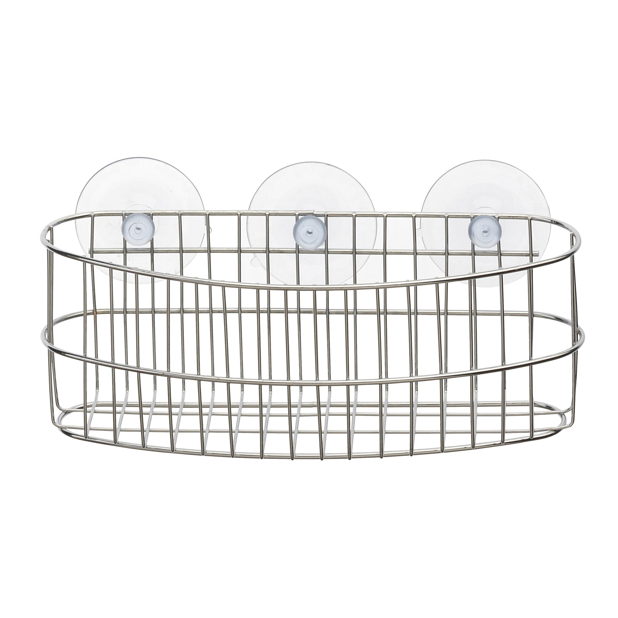 Корзинка для ванной Top Star, на присосках, 23,5 х 8 х 9 см702686Настенная корзинка для ванной комнаты Top Star изготовлена из высококачественной хромированной стали, устойчивой к высокой влажности. Глубокая корзинка овальной формы отлично подойдет для хранения тюбиков гелей для душа, шампуней, мочалок и прочего. Изделие крепится к стене с помощью присосок (входят в комплект).