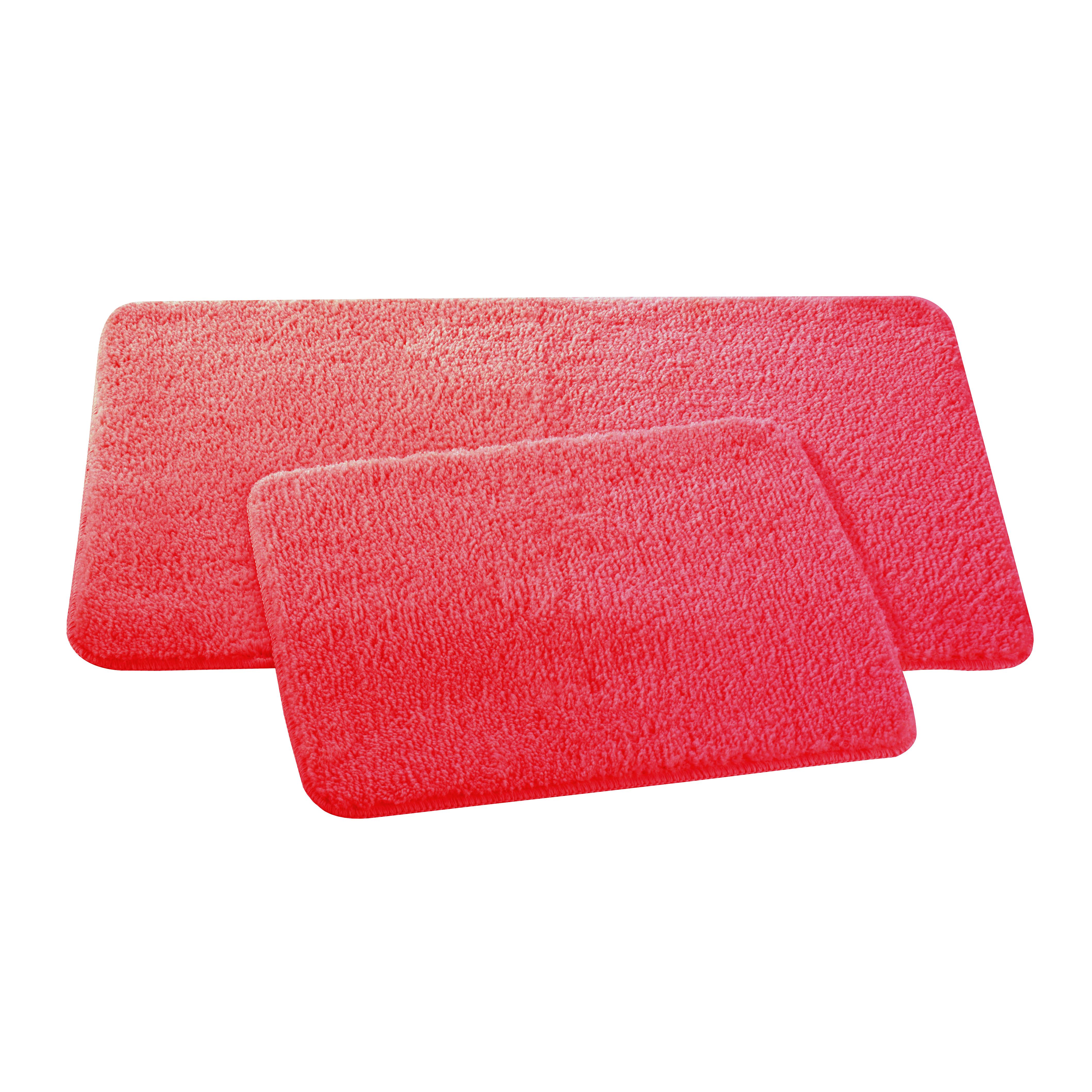Набор ковриков для ванной и туалета Axentia, цвет: красный, 2 шт116138Набор Axentia, выполненный из микрофибры (100% полиэстер), состоит из двух стеганых ковриков для ванной комнаты и туалета. Противоскользящее основание изготовлено из термопластичной резины и подходит для полов с подогревом. Коврики мягкие и приятные на ощупь, отлично впитывают влагу и быстро сохнут. Высокая износостойкость ковриков и стойкость цвета позволит вам наслаждаться покупкой долгие годы. Можно стирать в стиральной машине. Размер ковриков: 50 х 80 см; 50 х 40 см.Высота ворса 1,5 см.