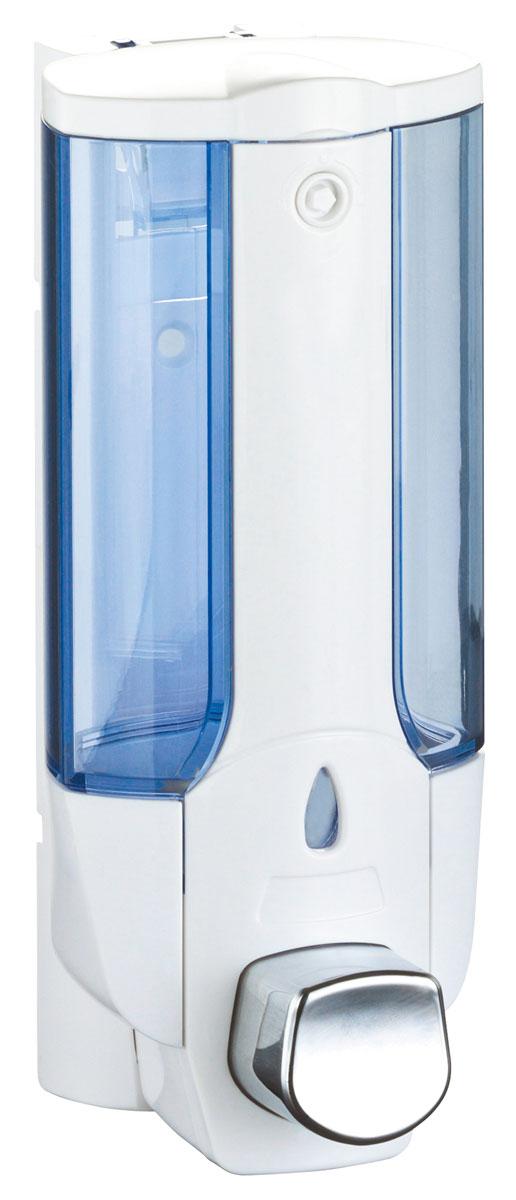Дозатор для жидкого мыла Axentia, цвет: белый, голубой, 380 мл282445Настенный дозатор для жидкого мыла Axentia изготовлен из прочного пластика белого цвета с голубым прозрачным окошком. Надежен и удобен в использовании. Крепится на шурупах (в комплекте). Так же, в комплекте ключик для открытия/закрытия крышки для заполнения дозатора жидким мылом.Подходит как для домашнего, так и для профессионального использования.Высота: 19 см.