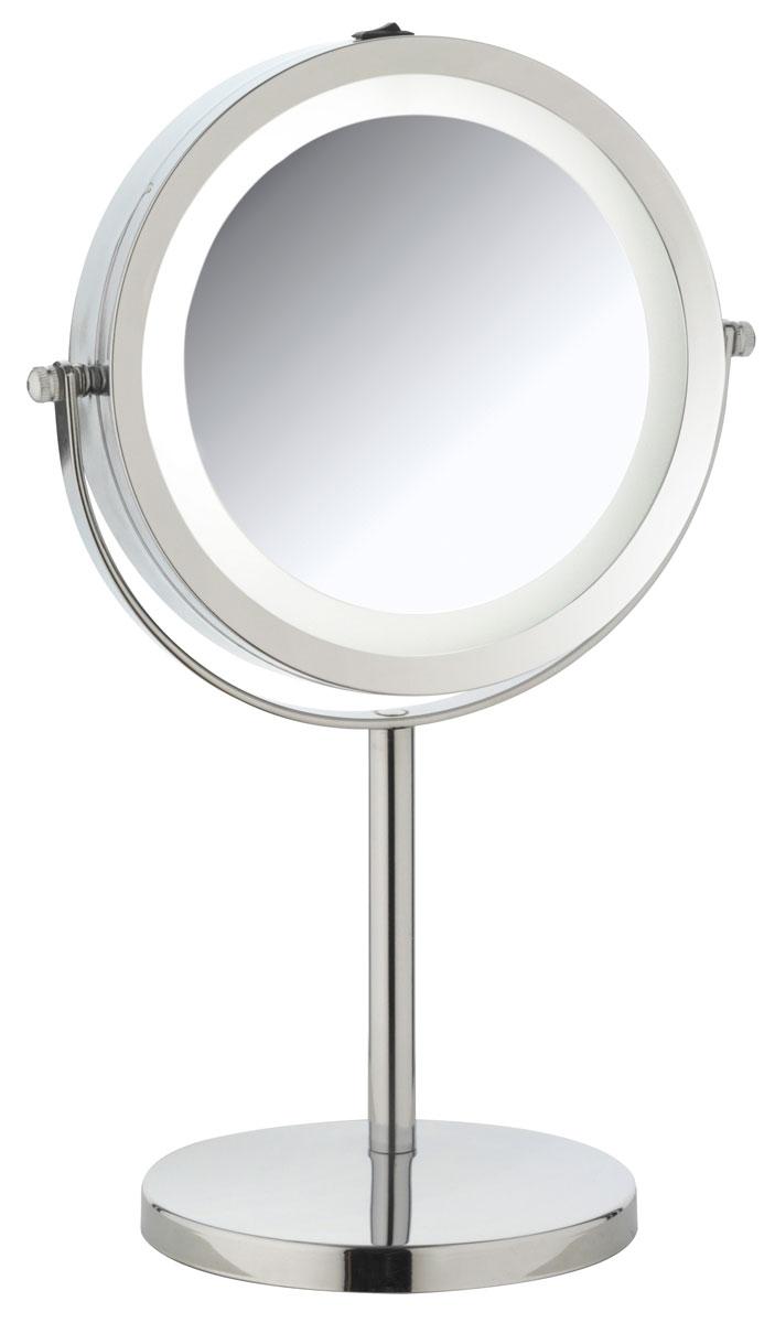 Зеркало косметическое Axentia, настольное, с подсветкой, диаметр 17 см282805Двухстороннее косметическое зеркало Axentia со светодиодной подсветкой и трехкратным увеличением с одной из сторон идеально подойдет для косметических процедур, нанесения и снятия макияжа, коррекции бровей и многого другого. Изделие имеет настольную конструкцию.Компактные размеры и возможность разворота на 360 градусов создаст дополнительный комфорт при использовании данного аксессуара.Работает на элементах питания типа ААА, 4 штуки (в комплект не входят).Диаметр зеркала: 17 см.Высота: 28,5 см.
