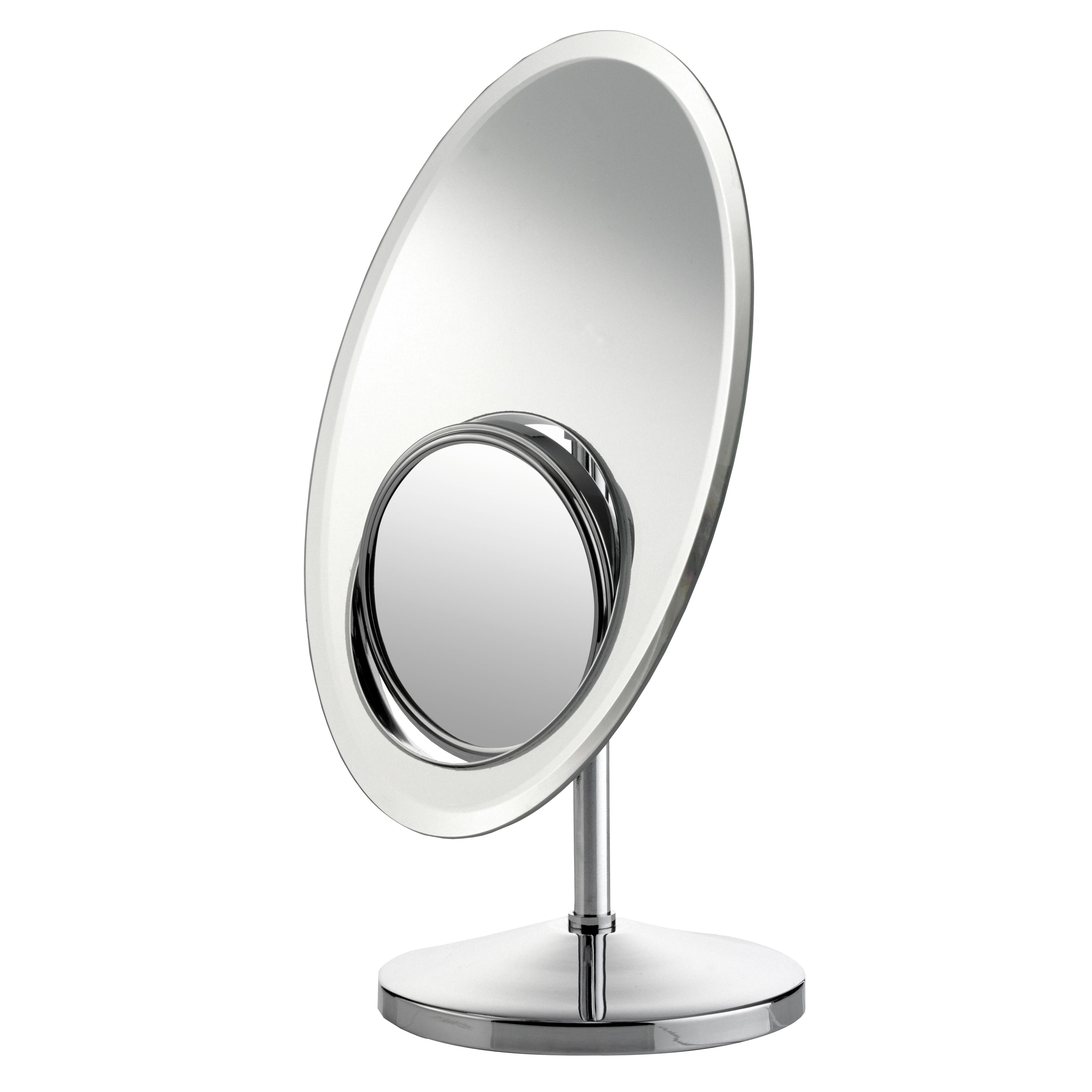 Зеркало косметическое Axentia, настольное, со встроеным увеличительным зеркалом, 30 х 20 см282807Зеркало овальной формы идеально подойдет для косметических процедур, нанесения и снятия макияжа, коррекции бровей. Изделие оснащено встроенным двухсторонним зеркалом с возможностью разворота на 360°C и увеличением в 2 и 8 раз на каждой из сторон. Устойчивая ножка, общая высота 35 см и 3 типа зеркальных поверхностей создают дополнительный комфорт при использовании аксессуара.Высота изделия: 35 см.Размер основного зеркала: 30 х 20 см.Диаметр встроенного зеркала: 12,5 см.