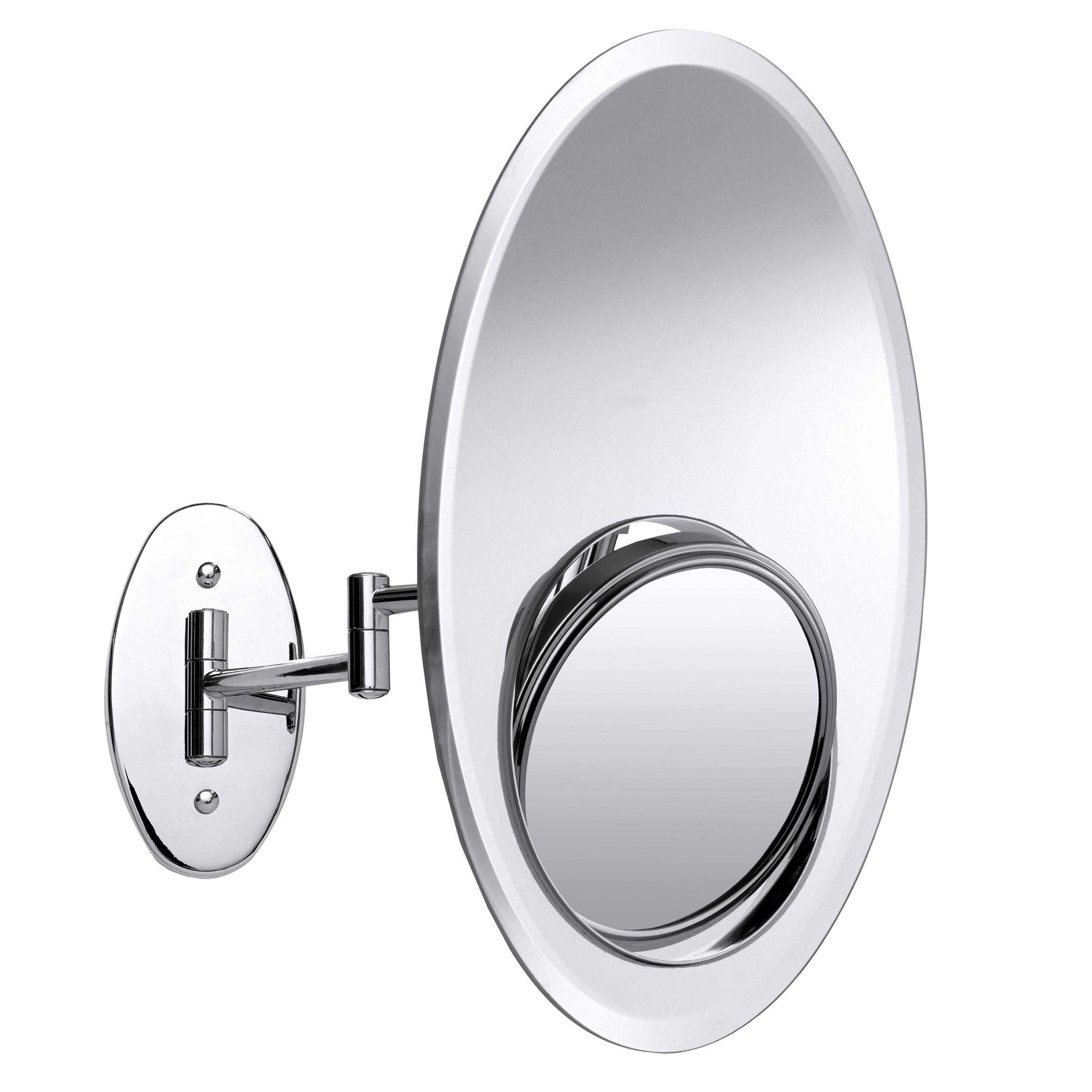 Зеркало косметическое Axentia, настенное, диаметр 12,5 см282808Настенное косметическое зеркало 3 в 1 Axentia, изготовленное из стали и стекла, идеально подходит для нанесения макияжа и совершения различных косметических процедур. Изделие овальной формы имеет встроенное двухстороннее зеркало. Зеркало с регулируемым углом наклона позволит вам установить его так, как это удобно вам, а увеличение в 2 и в 8 раз на каждой из сторон поможет разглядеть даже малейшие нюансы и устранить все недостатки кожи. Возможность использовать 3 типа зеркала создаст дополнительный комфорт при использовании данного аксессуара. Изделие крепится на стену с помощью шурупов (в комплекте). Яркий и стильный дизайн зеркала делает его отличным подарком родным и близким, оно будет прекрасно смотреться в любом интерьере.Размер овального зеркала: 30 см х 20 см.Диаметр круглого зеркала: 12,5 см.Высота: 35 см.