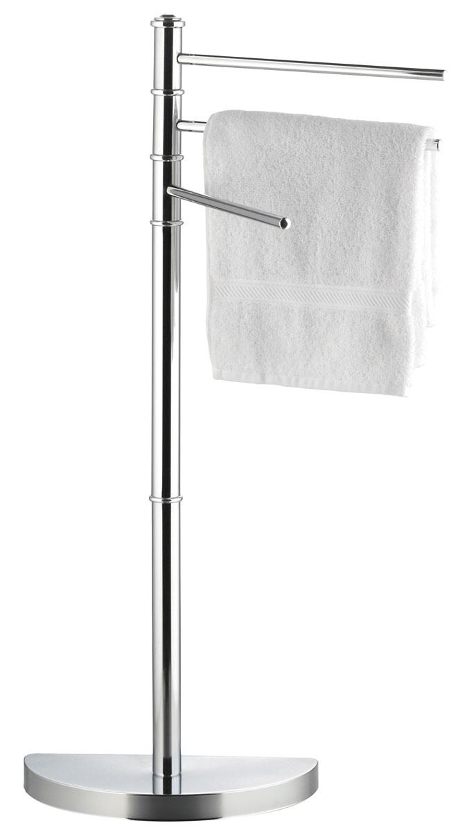 """Напольная вешалка для полотенец """"Axentia"""" изготовлена из высококачественной хромированной стали, устойчивой к коррозии в условиях высокой влажности в ванной комнате. Изделие оснащено тремя вращающими планками и утяжеленным основанием в виде полукруга для удобства размещения и лучшей устойчивости. Размер вешалки: 35 х 20 х 86 см."""