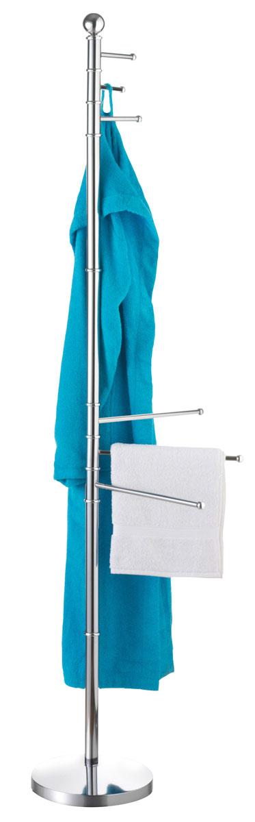 Вешалка для ванной Axentia, напольная, 35 х 25 х 177 см282188Напольная вешалка для ванной комнаты Axentia изготовлена из высококачественной хромированной стали, устойчивой к коррозии в условиях высокой влажности. Вешалка оснащена утяжеленным основанием для лучшей устойчивости. Изделие имеет три поворотные крючка для халатов и три поворотные планки для полотенец.Размер вешалки: 35 х 25 х 177 см.