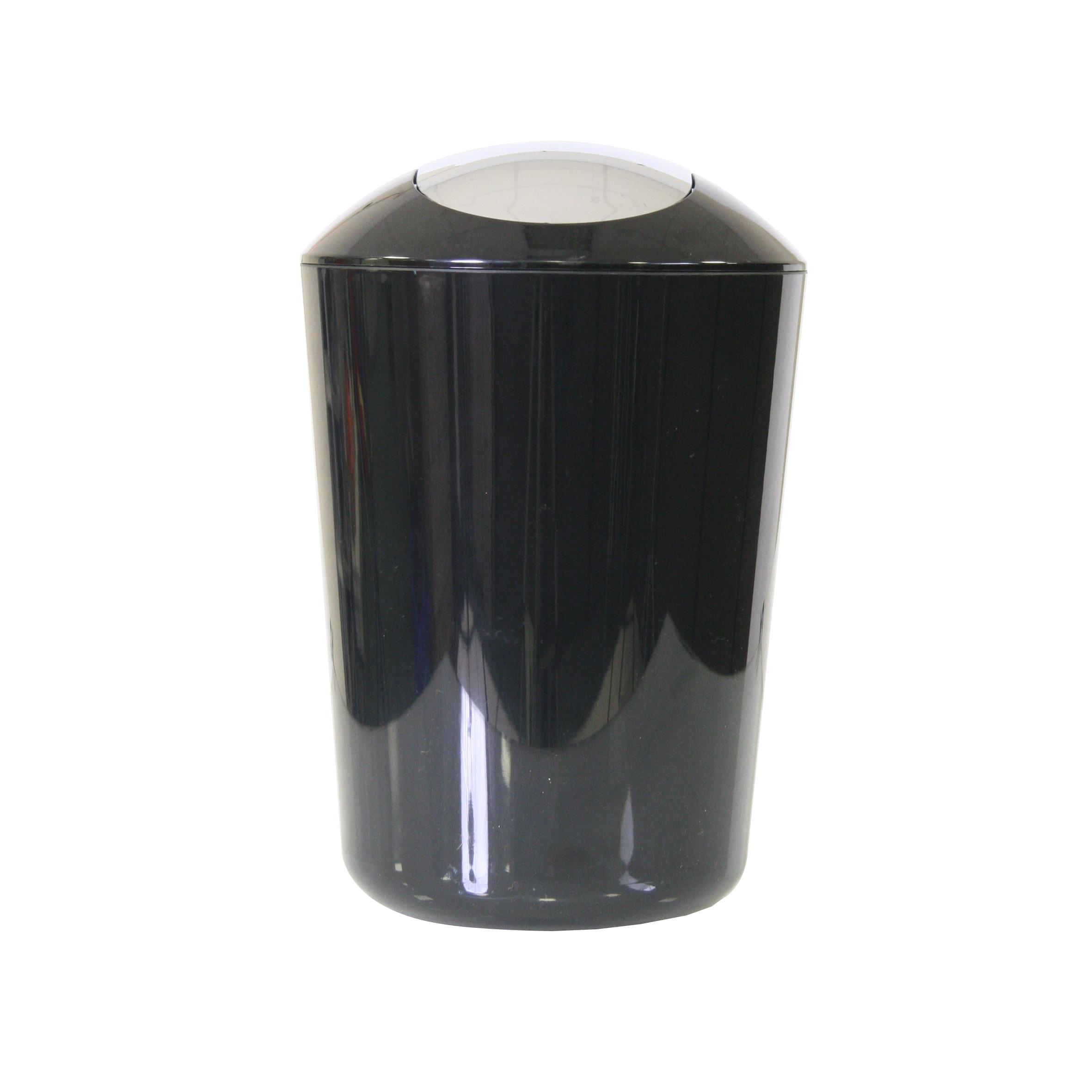 Ведро для мусора Axentia, с крышкой, цвет: черный, хром, 5 л251081Глянцевое ведро для мусора Axentia, выполненное из высококачественного износостойкого пластика, оснащено хромированную крышку типа качели. Подходит для использования в ванной комнате или на кухне. Стильный дизайн и яркая расцветка прекрасно подойдет для любого интерьера ванной комнаты или кухни. Размер ведра: 20 х 20 х 30 см.Объем ведра: 5 л.