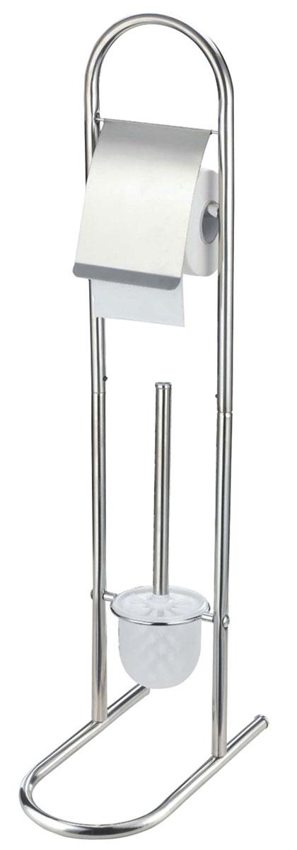 """Гарнитур для туалета Top Star """"Emil"""" состоит из колбы с ершиком и держателя для бумаги. Основание гарнитура выполнено из нержавеющей стали. Держатель для туалетной бумаги оснащен крышкой. В нижней части стойки для туалета расположена пластиковая колба с туалетным ершом со стальной ручкой и жестким густым ворсом. Такой гарнитур прекрасно впишется в интерьер вашей туалетной комнаты."""