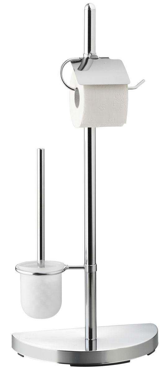 Гарнитур для туалета Axentia, с держателем для бумаги, 46 х 23 х 76 см282252Туалетный гарнитур с держателем для бумаги Axentia выполнен в стильном дизайне из высококачественной хромированной стали, устойчивой к проявлениям коррозии. Состоит из держателя туалетной бумаги с крышкой, ершика со стальной ручкой, белой щеткой с жестким густым ворсом и подставки. Для высокой устойчивости у гарнитура имеется утяжеленное основание в виде полукруга, что позволяет разместить гарнитур у стенки и сэкономить место.Высококачественные материалы, а так же прочные крепления позволят наслаждаться покупкой долгие годы. Изделие приятно дополнит интерьер вашей туалетной комнаты.Высота гарнитура: 76 см.