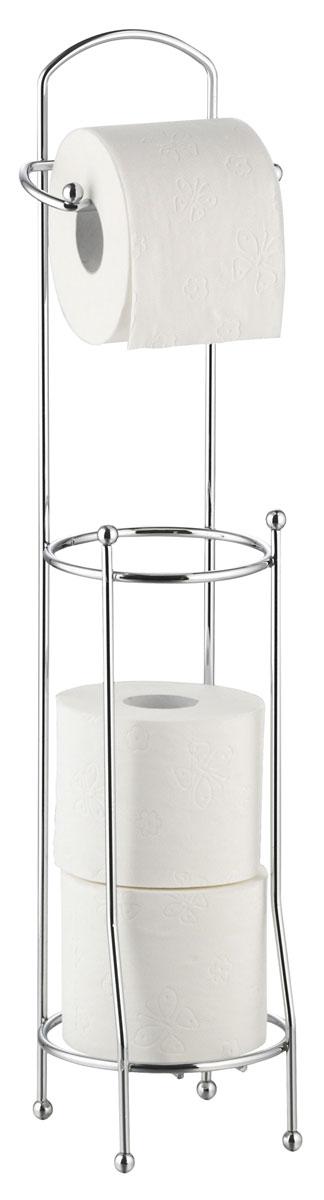 """Держатель для туалетной бумаги """"Axentia"""" оснащен накопителем для 3 стандартных рулонов.  Изготовлен из высококачественной хромированной стали, устойчивой к проявлению коррозии.  Стильный дизайн украсит интерьер вашей туалетной комнаты. Размер держателя: 16 х 16 х 66 см."""