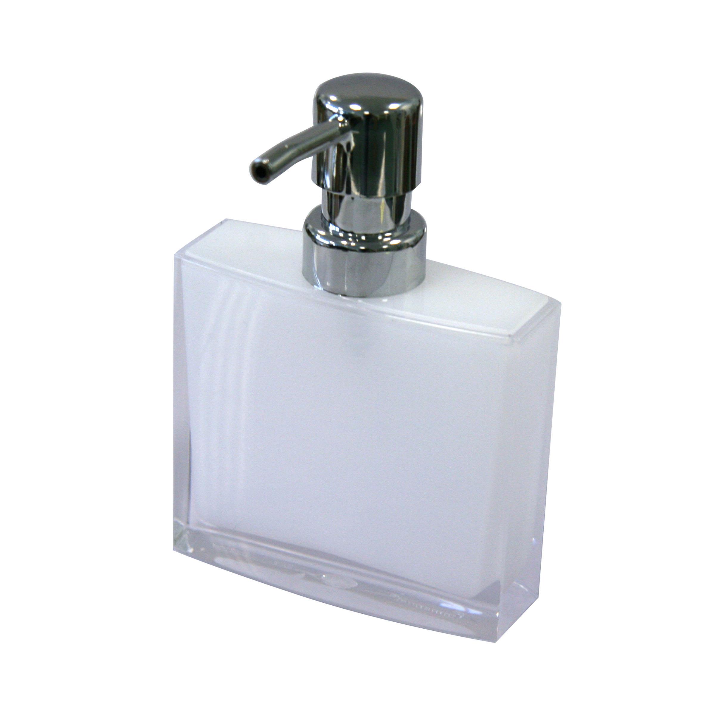 Дозатор для жидкого мыла Axentia Priamos282322Дозатор для жидкого мыла Axentia Priamos изготовлен из высококачественного акрила. Акрил - это долговечный, прочный и легкий в уходе материал. Изделие прекрасно дополнит интерьер вашей ванной комнаты или кухни.Высота дозатора: 15 см.