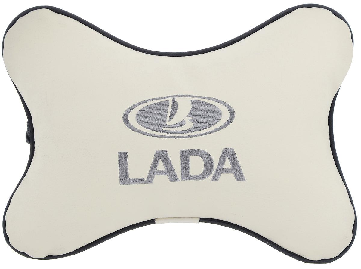Подушка автомобильная Autoparts Lada, на подголовник, цвет: бежевый, серый, 30 х 20 см