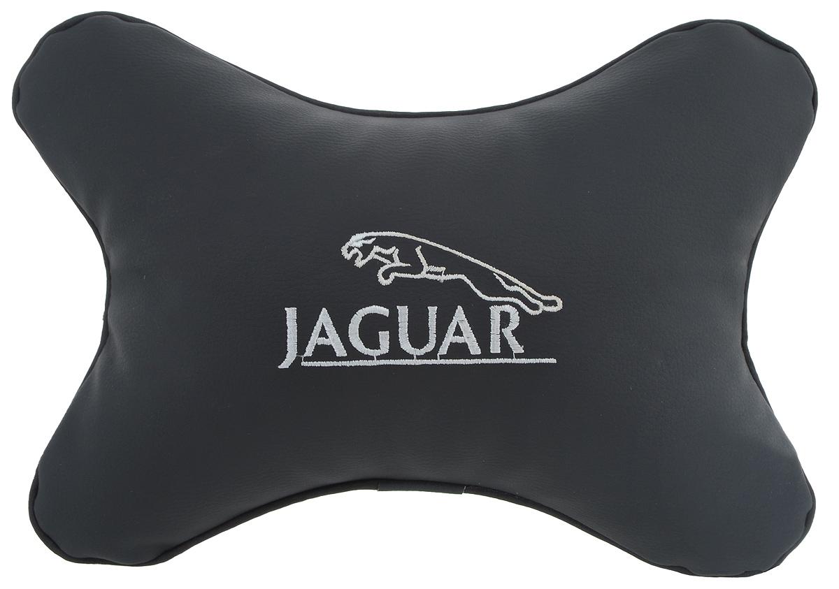 Подушка автомобильная Autoparts Jaguar, на подголовник, цвет: черный, белый, 30 х 20 см