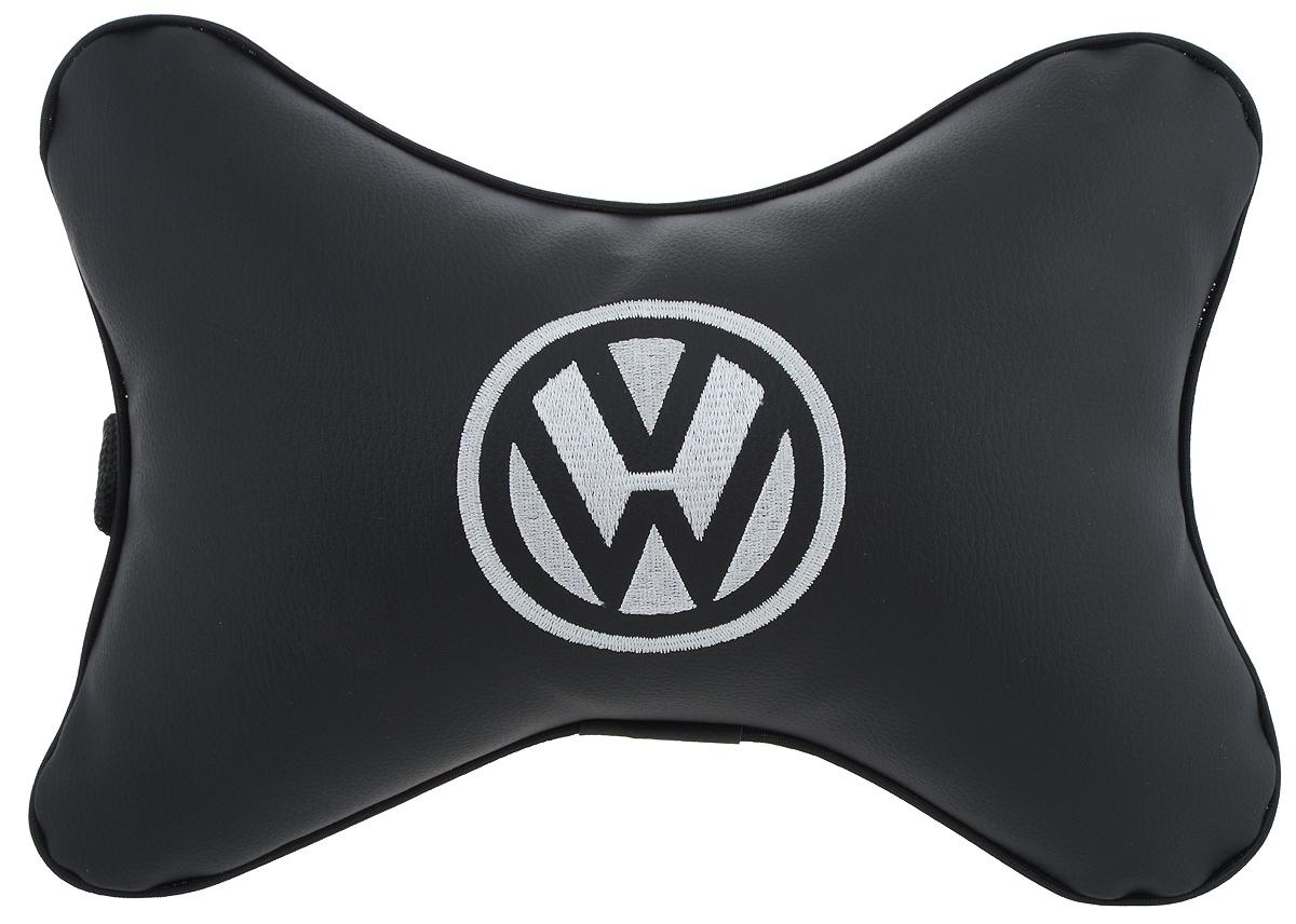 """Подушка автомобильная Autoparts """"Volkswagen"""", на подголовник, цвет: черный, белый, 30 х 20 см"""