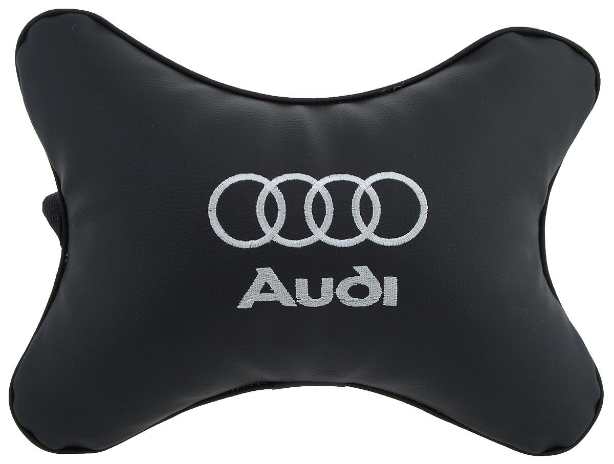 Подушка автомобильная Autoparts Audi, на подголовник, цвет: черный, белый, 30 х 20 см